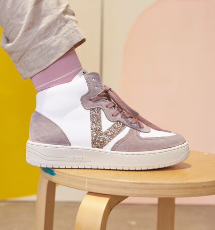 SIEMPRE SYNTHETIC SPLIT LEATHER GLITTER TRAINER